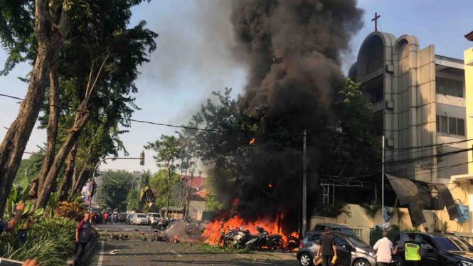 Lokasi ledakan bunuh diri di Gereja Surabaya