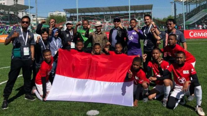 Timnas Indonesia pada ajang Street Child World Cup 2018 di Moscow, Rusia.