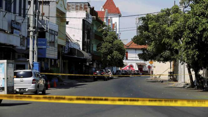 Lokasi ledakan bom di Mapolrestabes Surabaya