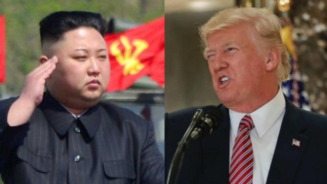 A composite image of Kim Jong-un (l) and Donald Trump (r).