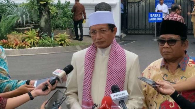 Nasaruddin Umar, pemuka agama Islam sekaligus imam besar Masjid Istiqlal, di Kompleks Istana Kepresidenan, Jakarta, pada Rabu, 16 Mei 2018.