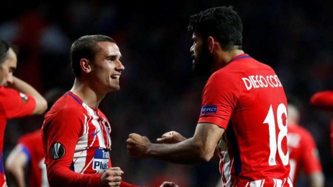 Dua penyerang Atletico Madrid, Antoine Griezmann (kiri) dan Diego Costa (kanan)