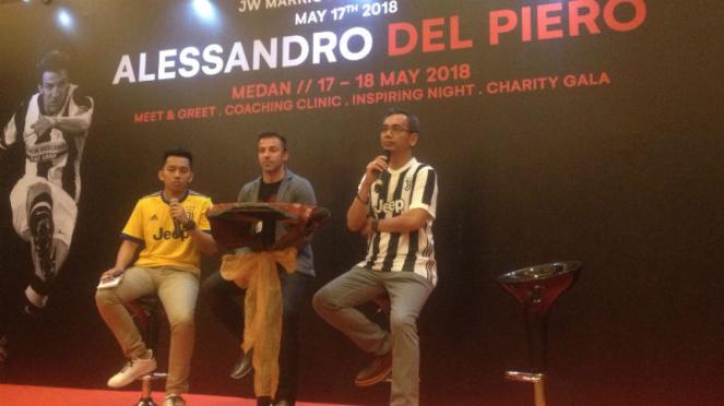 Legenda Juventus, Alessandro Del Piero, saat berkunjung ke Medan