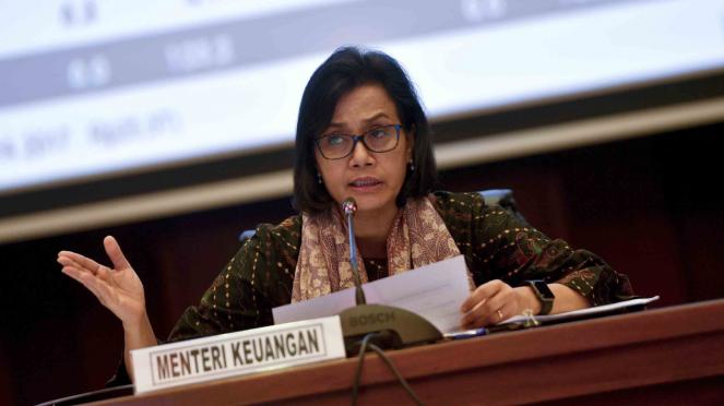 Menteri Keuangan, Sri Mulyani memberikan keterangan pers kinerja APBN 2018