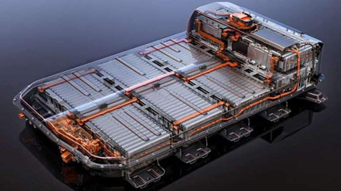 Ilustrasi baterai mobil listrik.