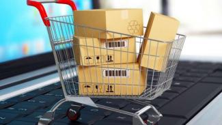Ilustrasi keranjang belanja di e-commerce.