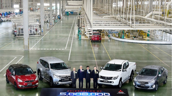 Perayaan lima juta unit produksi pabrik Mitsubishi Thailand