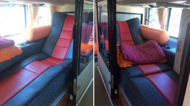 Bus mewah PO Harapan Jaya.