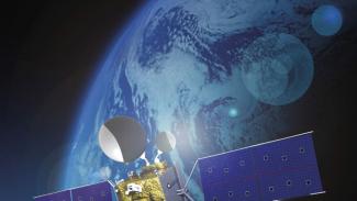 Ilustrasi satelit mengorbit.
