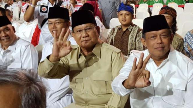 Prabowo Subianto hadiri debat terakhir Pilkada Jabar, Jumat, 22 Juni 2018.