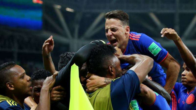 Timnas Kolombia rayakan gol