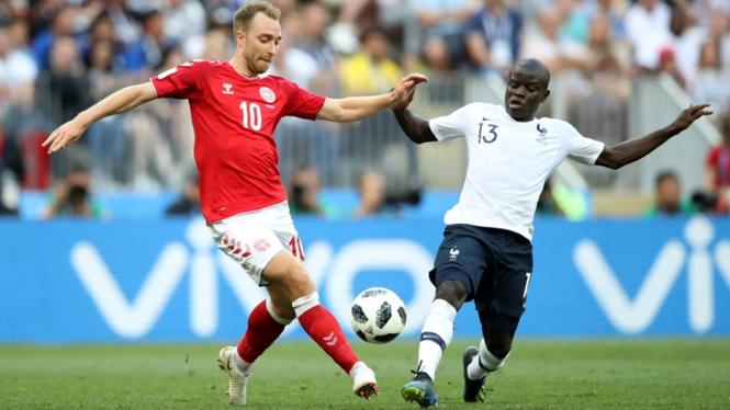 Pemain Timnas Prancis, N'Golo Kante di laga melawan Denmark