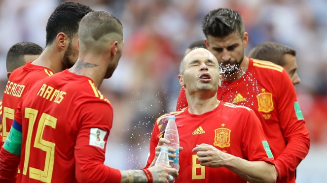 Andres Iniesta bersama Timnas Spanyol di Piala Dunia 2018