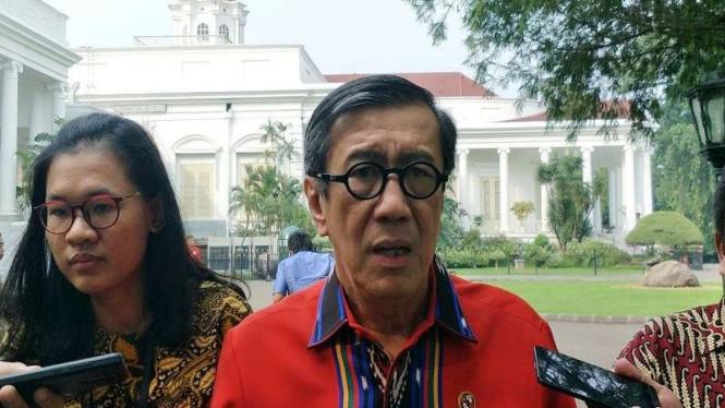 Menteri Hukum dan HAM Yasonna H Laoly di Istana Bogor