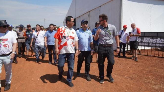 Wali Kota Semarang saat meninjau penyelenggaraan MXGP (VIVA/Dwi Royanto)?