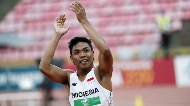 Pelari Indonesia, Muhammad Zohri saat merayakan kemenangan