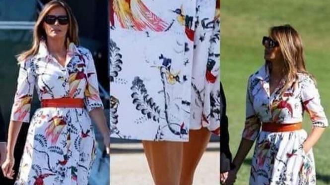 Heboh Melania Trump Pakai Dress Bermotif Mirip Burung Cendrawasih Viva