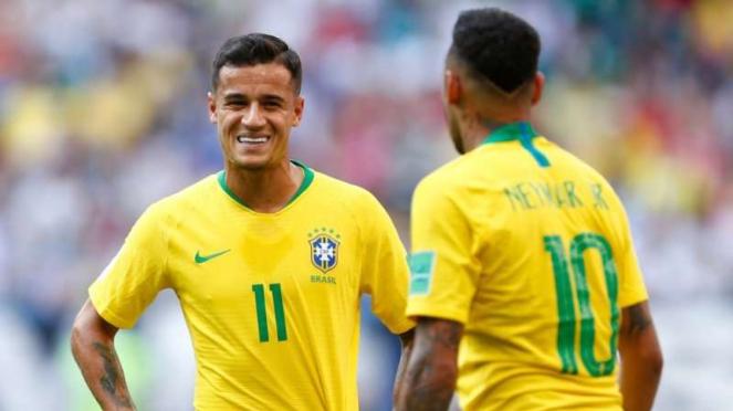 Duo bintang timnas Brasil, Philippe Coutinho dan Neymar