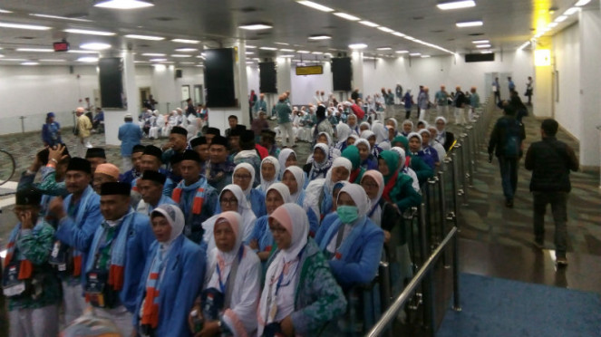 Calon jemaah haji di Bandara Soekarno Hatta