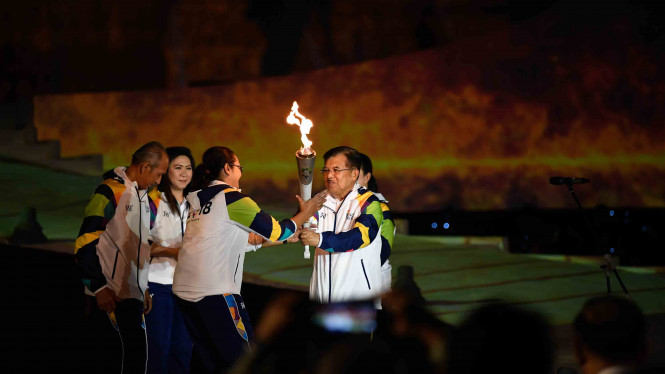 Penyatuan Dua Api untuk Obor Asian Games 2018