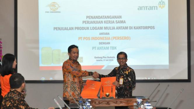 Pos Indonesia Dan Antam Lanjutkan Kerjasama Penjualan Emas Viva