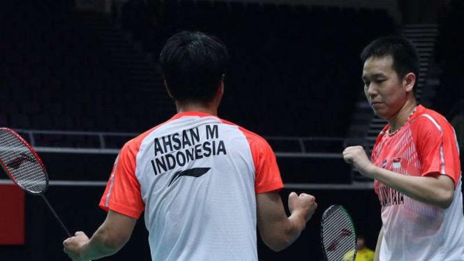 Pasangan ganda putra Indonesia, Mohammad Ahsan/Hendra Setiawan.