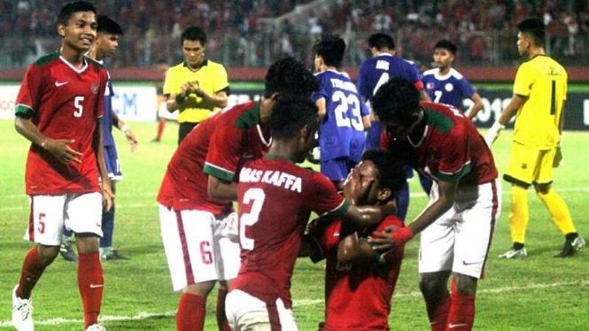 Selebrasi gol para pemain Timnas Indonesia U-16