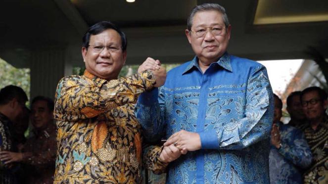 Pertemuan SBY dan Prabowo Subianto di kawasan Kertanegara, Jakarta Selatan.