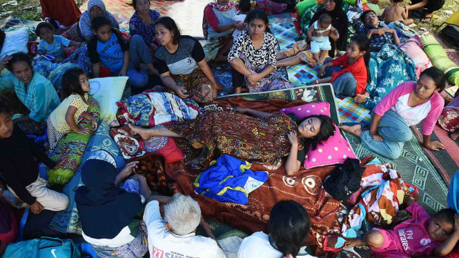 Kondisi pengungsi korban gempa bumi di Lombok, NTB.