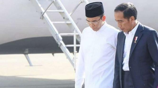 Presiden Joko Widodo dan TGB saat tiba di Lombok, NTB.
