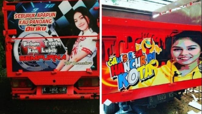 Foto wajah artis di belakang truk