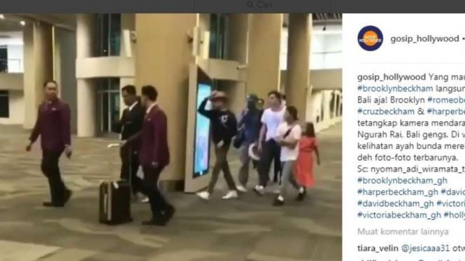 Anak-anak David Beckham di Bandara Ngurai Rai Bali