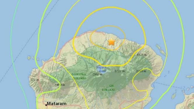 Peta lokasi gempa darat 7,0 Lombok, NTB.