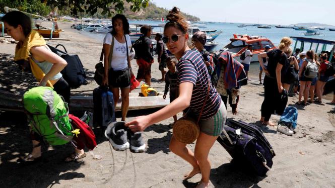 Wisatawan asing ramai-ramai tinggalkan Lombok pascagempa bumi.