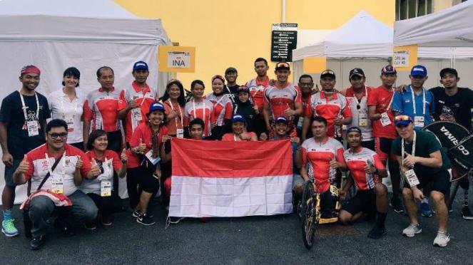 Tim Para Cycling Indonesia pada ajang Kejuaraan Dunia di Maniago, Italia