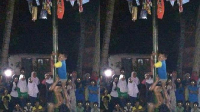 Hasil foto panjat pinang di malam hari yang nampak menyeramkan.