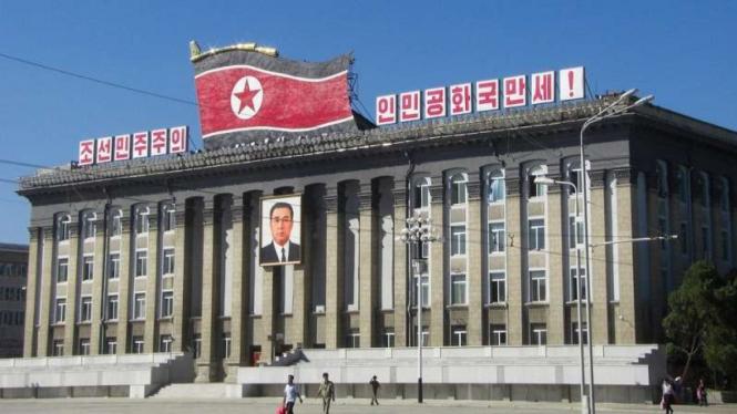 Gedung Pemerintah Korea Utara di Ibu Kota Pyongyang.