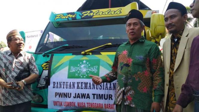 Ketua NU Jawa Timur Marzuki Mustamar (kedua dari kanan) di Surabaya pada Kamis, 9 Agustus 2018.