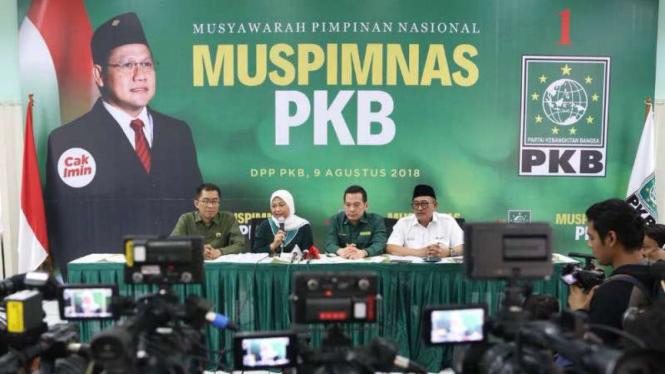 Konferensi pers petinggi PKB di kantor pusat partai itu di Jakarta pada Kamis, 9 Agustus 2018.