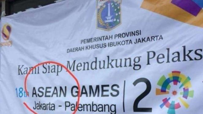 Spanduk Asian Games salah tulis