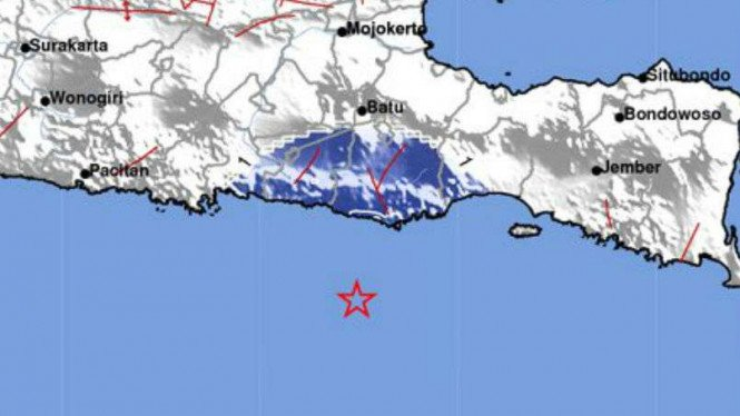 Lokasi gempa Malang.