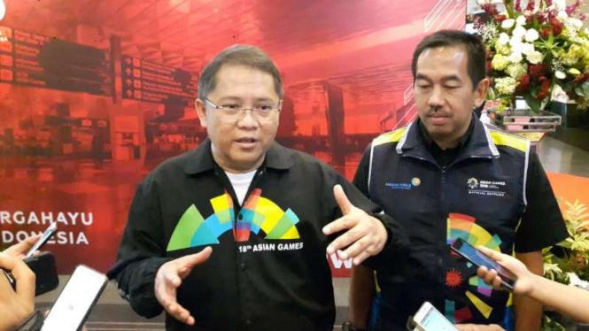 Menteri Komunikasi dan Informatika Rudiantara di Bandara Soekarno-Hatta, Tangerang, Banten, pada Sabtu, 11 Agustus 2018.
