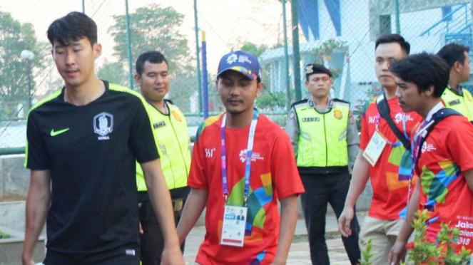 Pemain Timnas Korsel, Son Heung-min, tiba di Indonesia.