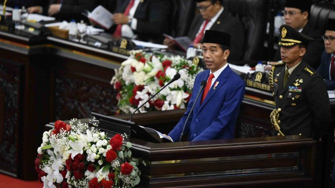 Presiden Joko Widodo menyampaikan Pidato Kenegaraan pada Sidang Tahunan MPR