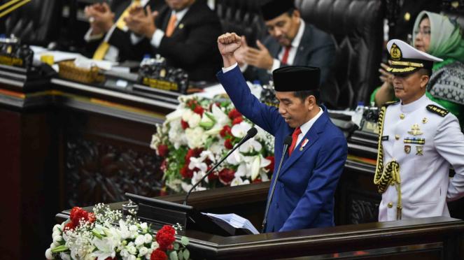 Presiden Joko Widodo menyampaikan Pidato Kenegaraan pada Sidang Tahunan MPR 2018
