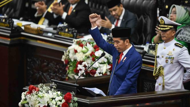 Presiden Joko Widodo menyampaikan Pidato Kenegaraan pada Sidang Tahunan MPR.