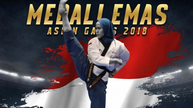 Defia Rosmaniar menyumbangkan emas dari cabang olahraga Taekwondo