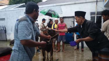 Ritual Jemaah Tarekat Syattariyah memandikan hewan kurban dengan kembang tujuh rupa sebelum binatang itu disembelih dalam perayaan Idul Adha di Kota Padang pada Rabu, 22 Agustus 2018.