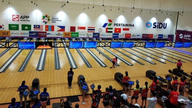 Pertandingan boling Asian Games 2018 di Jakabaring Sports City
