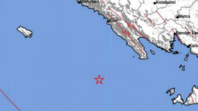 Ilustrasi lokasi pusat gempa Lampung.